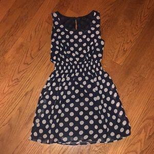 Navy and tan polka dot dress
